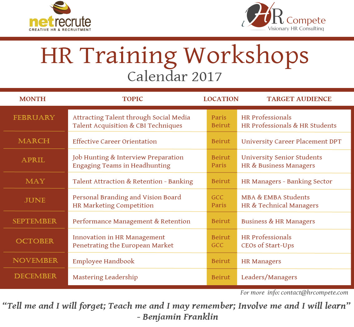HR Training Workshops - Calendar 2017